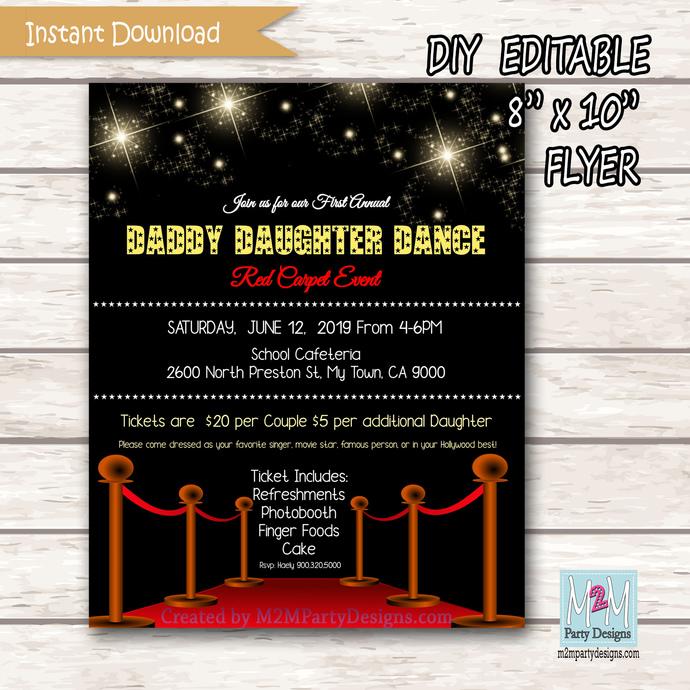 Daddy Daughter Dance Invitation, Movie Night Invitation. DD Dance Invite.