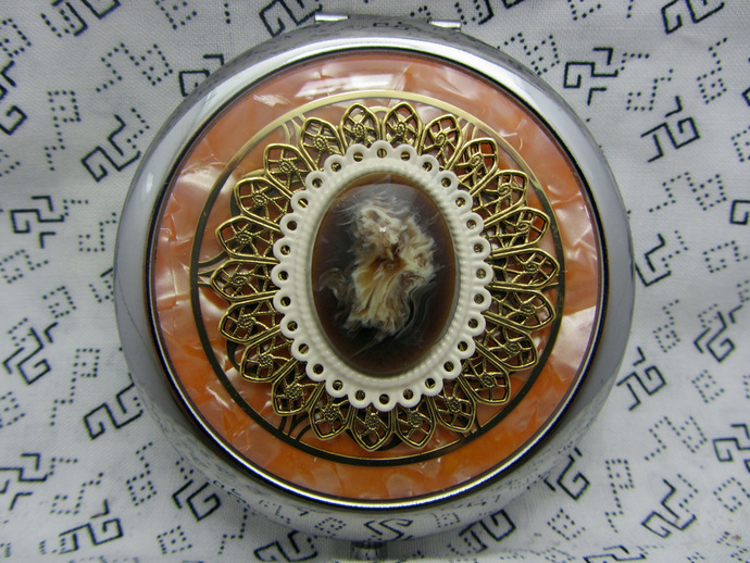 Ladies compact mirror and pouch - handcrafted mirror compact - retro gifts for