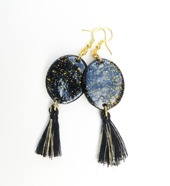 Polymer clay dangle black tassel earrings, fringe statement earrings, black