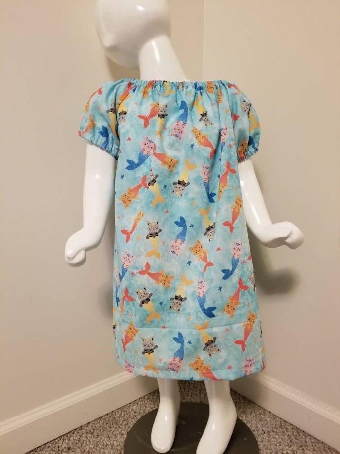 Cat Mermaid Print Peasant Dress