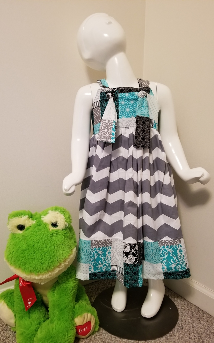 Gray Chevron Knot Dress
