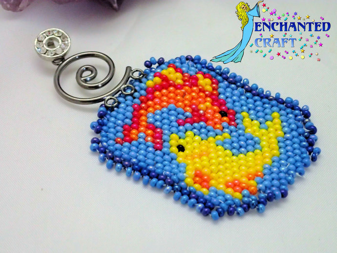Detailed and colorful Pisces fish beaded pendant in yellow, orange, and blue