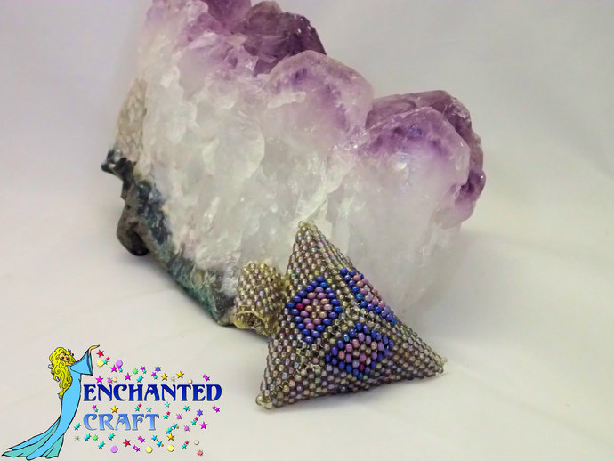 beaded Art Deco Styled 3D iridescent grey blue purple red Seed bead pendant,