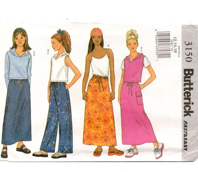 Butterick 3150 Teen Girl Top, Skirt, Pants Sewing Pattern Size 12, 14, 16 Bust