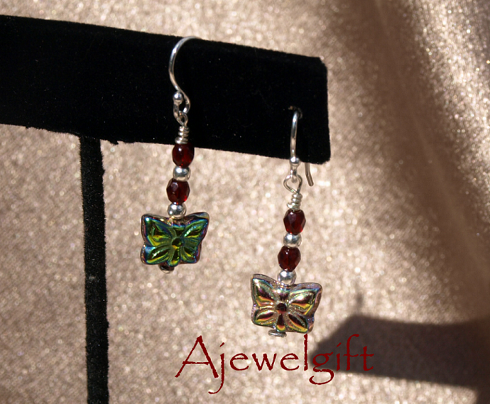 Red Butterfly Glass Earrings 10002