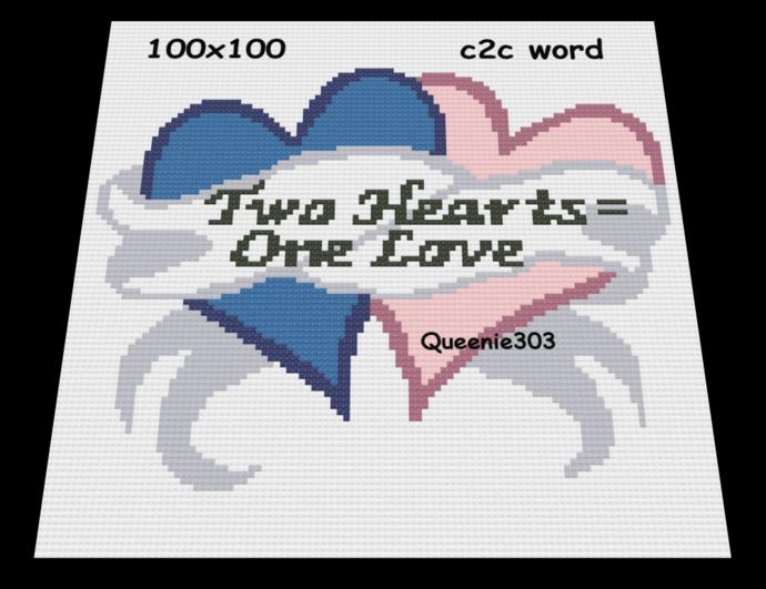 Two Hearts One Love 100x100 c2c (CORNER to CORNER)