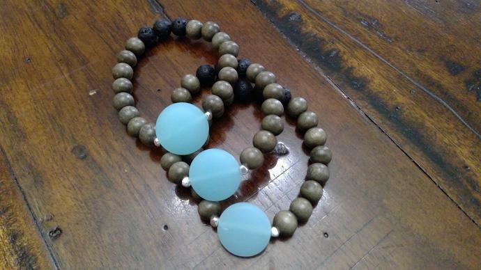 Sea Glass Bracelet with graywood and lava stones 1 bracelet