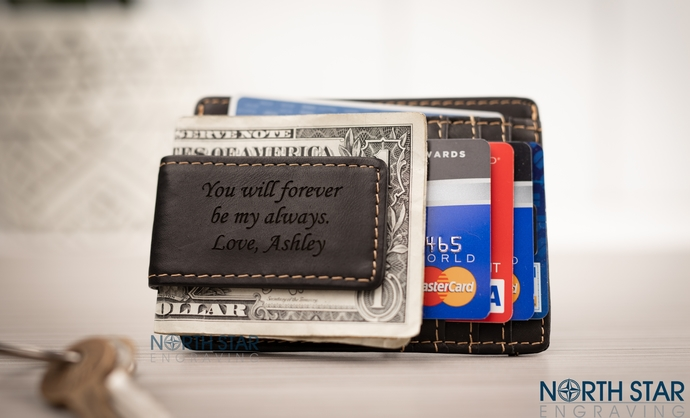 Black Money Clip Wallet, Personalized Money Clip Wallet, Fathers day gift, gift