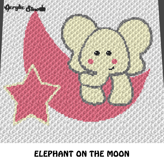 Baby Elephant On the Moon Star crochet graphgan blanket pattern; c2c, knitting,