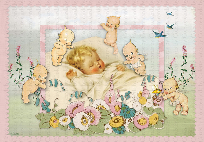 Baby and Kewpies for Boy  Digital Collage Greeting Card2216