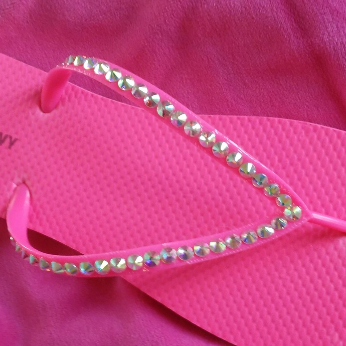 Hot Pink Flip Flops With Crystals