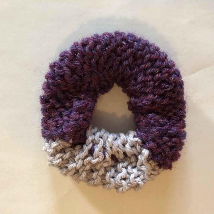 Hair Scrunchie - One-Quarter Light Purple Three-Quarters Dark Purple
