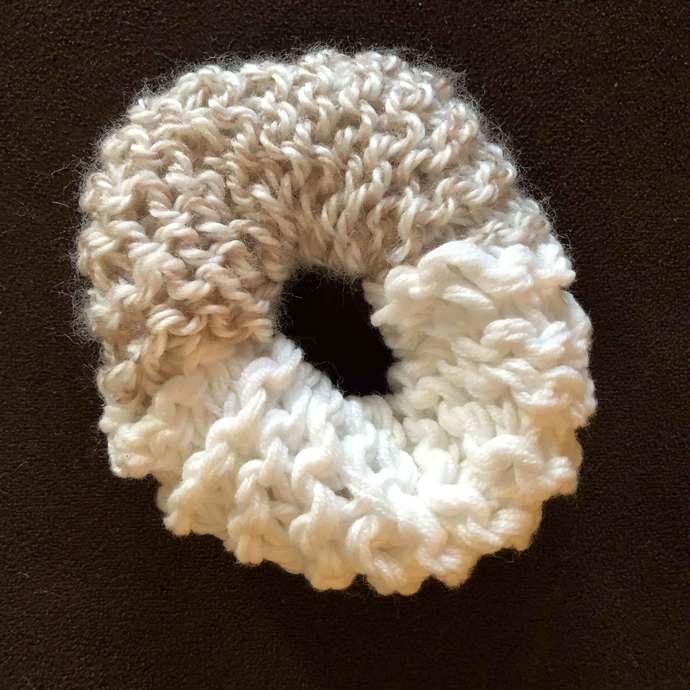 Hair Scrunchie - One-Half White One-Half Wheat