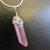 Rose Aura Crystal Quartz Point Pendant, Silver Wire Wrap. Boho Jewelry