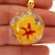 Minature Polymer Clay Yellow Hibiscus in a Domed Pendant, With An Opal