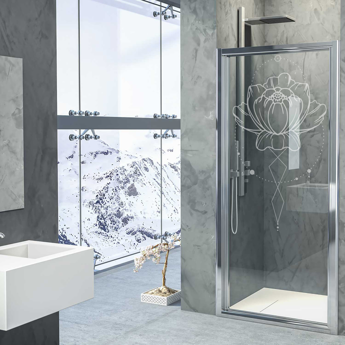 Lotus Realm II - Modern Living Series - Etched Decal - For Shower Doors, Glass