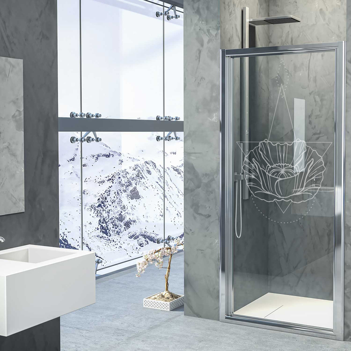 Lotus Realm III - Modern Living Series - Etched Decal - For Shower Doors, Glass