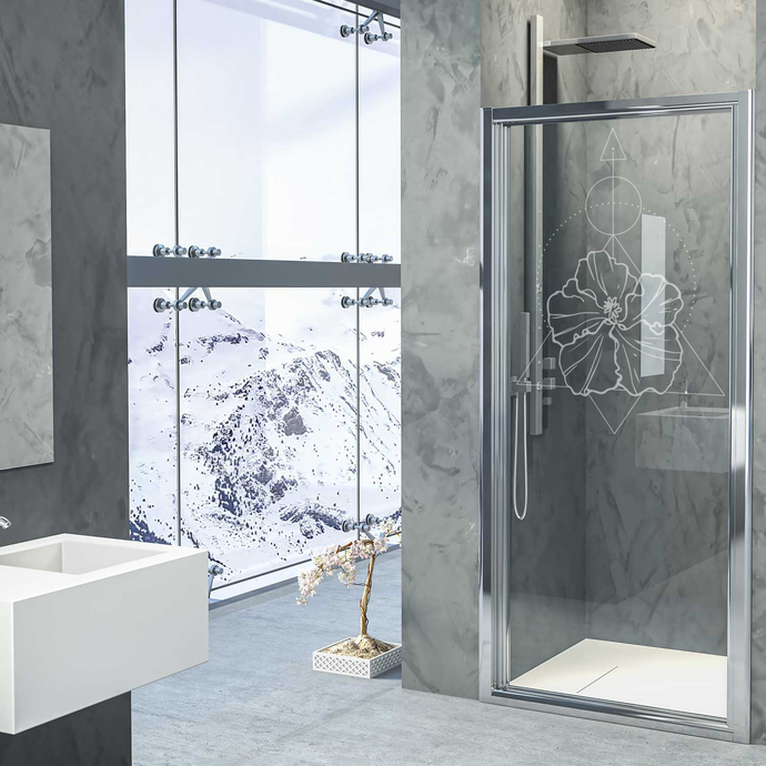 Lotus Realm IV - Modern Living Series - Etched Decal - For Shower Doors, Glass
