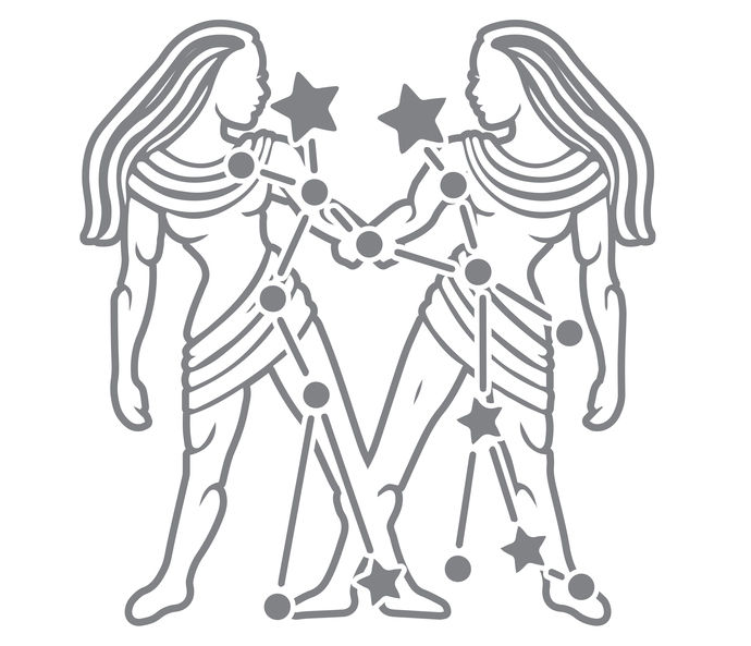 Rising Stars - Gemini - Modern Living Series - Etched Decal - For Shower Doors,
