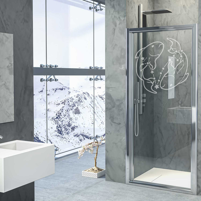 Rising Stars - Pisces - Modern Living Series - Etched Decal - For Shower Doors,