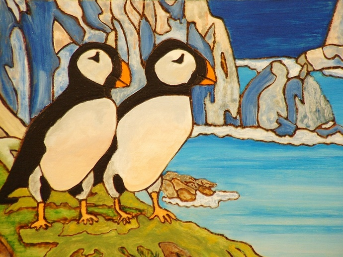 Puffins, Bird, Wood Wall Art, Alaska Cold Country, Fine Art, Hand Painted