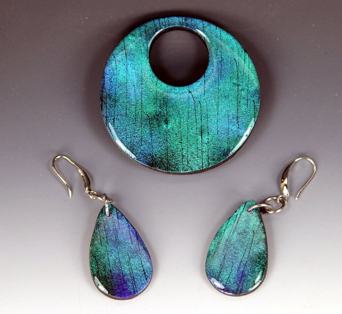 Dichroic Brooch & Earring Matched Set - handmade and one of a kind jewelry art,