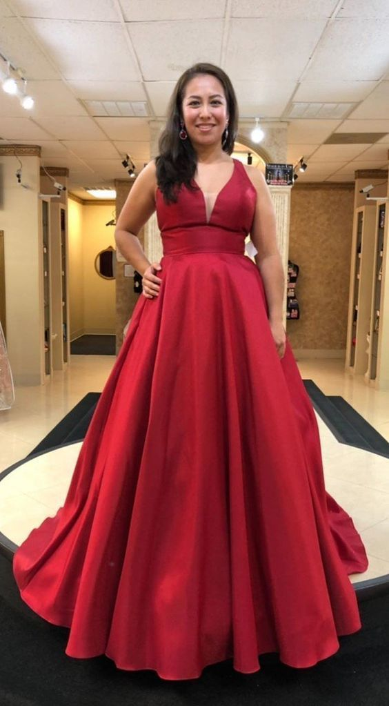 Long V-neck Plus Size Deep Red Prom Dress