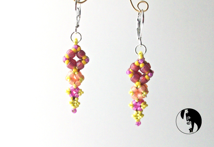 Diamond Drop Earrings Pattern by DatzKatz Designs