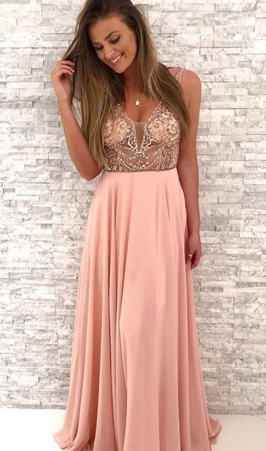 Gorgeous Beaded Pink Chiffon Long Prom Dress,V-Neck A Line Party Dress