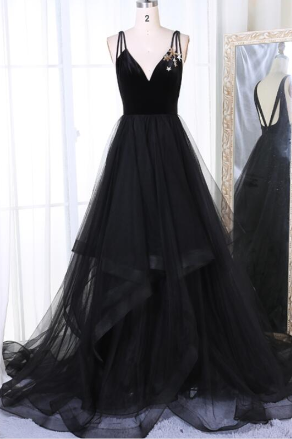 Simple black tulle v neck long prom dress, black evening dress