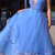 Sexy Baby sky Blue Evening Party Dresses V Neck Tiered Prom Gowns A Line Sweep