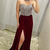Luxury Burgundy Split Prom Dresses High Neck Beaded Sexy Backless A Line Chiffon