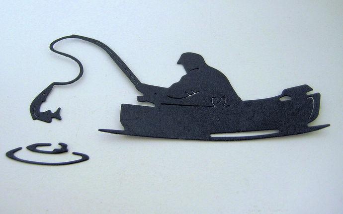 Fisherman in Boat Cutting Die, Fishing Die, Water Ripples