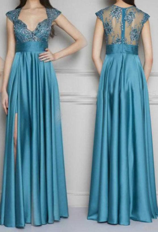 Gorgeous V-neck Prom Dresses,Long Evening Dresses,Satin Prom Dresses Ball Gowns