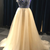 Charming Champagne Long Tulle A-Line Formal Dress Featuring V Neck And Beaded