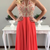 Red Beading Halter A-line Chiffon Prom Dresses