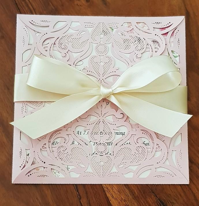 Blush pink floral lace Wedding Invitation card