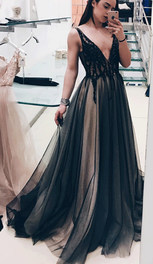 Black v neck tulle long prom dress, black evening dress