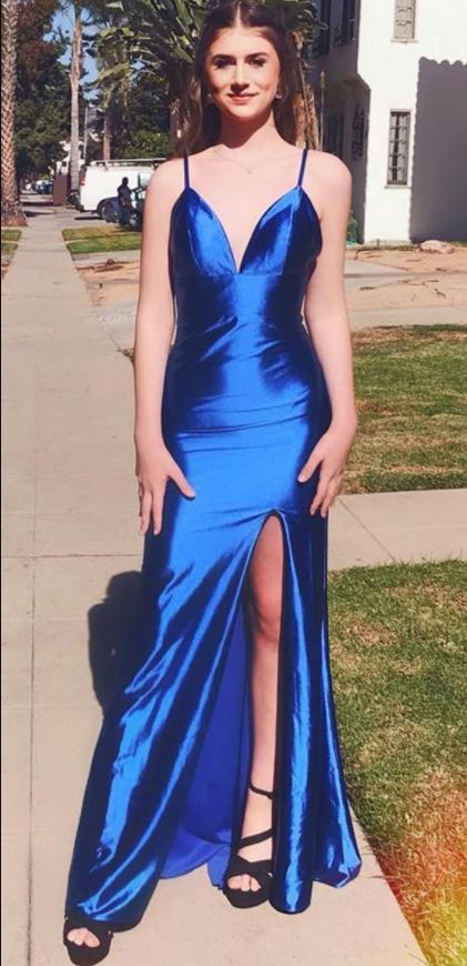 Charming Prom Dress, Sexy Split Slit Prom Dresses, Long Evening Party Dress