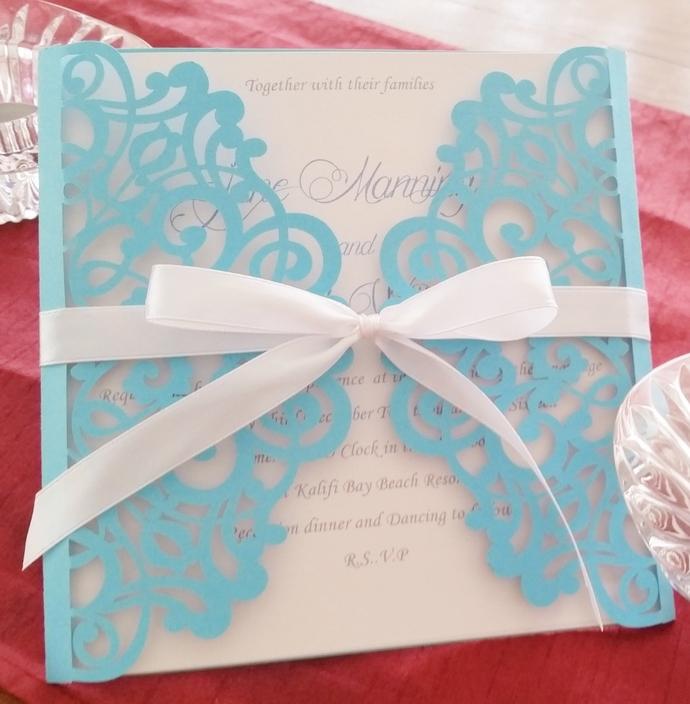 Stunning Aqua blue laser cut invitation card