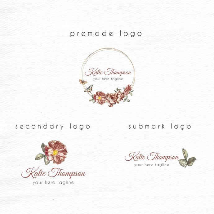 Watercolor Logo Design, Personalized logo, Premade logo, Logo Design, Watercolor