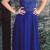 Elegant Beaded A-line Royal Blue Long Prom Dress, Chiffon V Neck Long Party