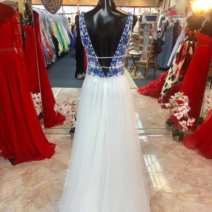 Princess White Long Prom Dress with Blue Floral Embroidery