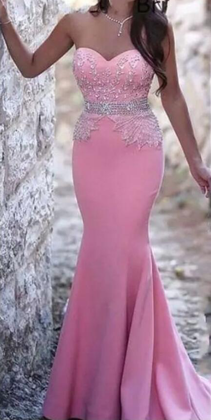 Pink Sexy Cheap Long Mermaid Prom Dresses Sweetheart Beaded Crystals Evening