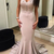 Mermaid Spaghetti Straps Blush Evening Party Dress.High Quality Handmade Beaded