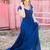 Blue Lace Spliced A-line Chiffon Prom Dresses 2019