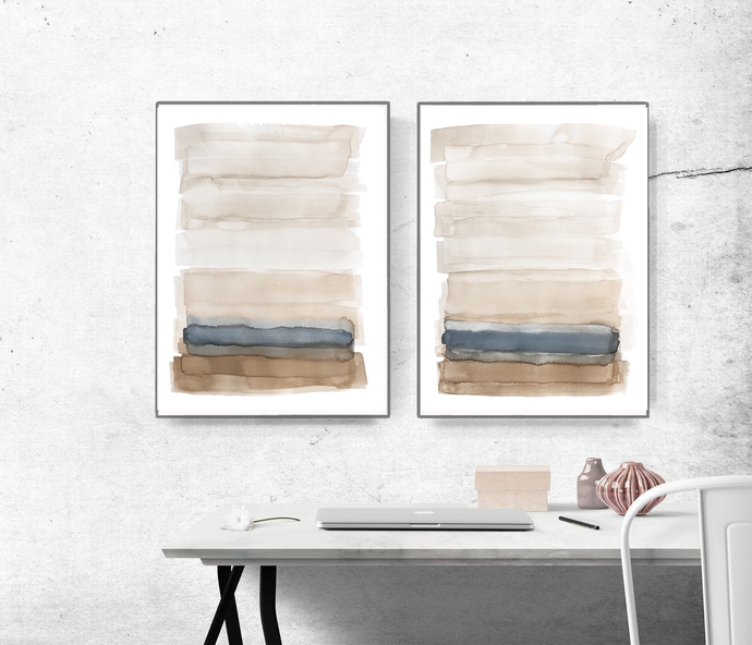Printable Abstract, Large Art Prints, Brush Prints set of 2, Simple Prints, Navy