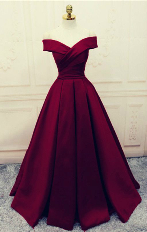 Elegant Wine Red Satin Prom Dress Off Shoulder A-line Burgundy Evening Dresses