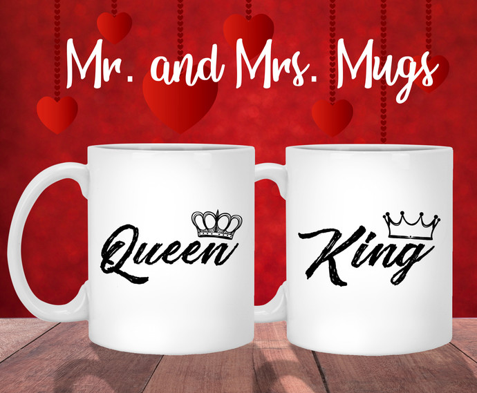 Queen King mugs - Mr and Mrs mugs - Wifey hubs mug - Couple Gift Mugs Set - His