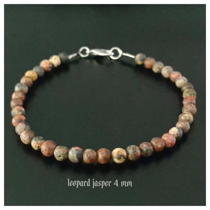 LEOPARD JASPER BRACELET Men's Jewelry Men's Beaded Bracelet Beaded 4 mm Custom